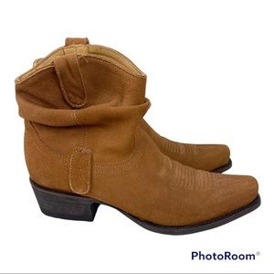 OG by Old Gringo Caido Suede Ruched Western Tan Ankle Boots 7.5